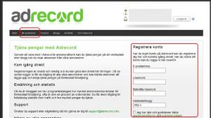 Registrerar dig och din webbplats hos Adrecord.