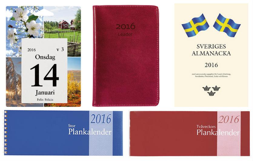 Kalendrar och almanackor från Burde 2016