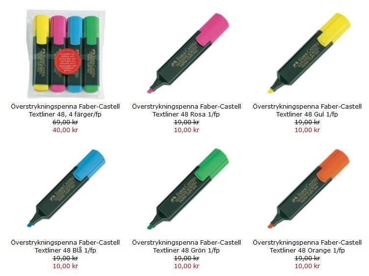Kampanjpris på utvalde färger av Faber-Castells Textliner 48 överstrykningspennor.